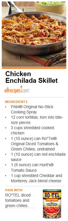 "Chicken Enchilada Skillet | ""The flavor of an enchilada recipe made quickly in a skillet with torn corn tortillas, cooked chicken, zesty tomatoes and sauce with cheese."""