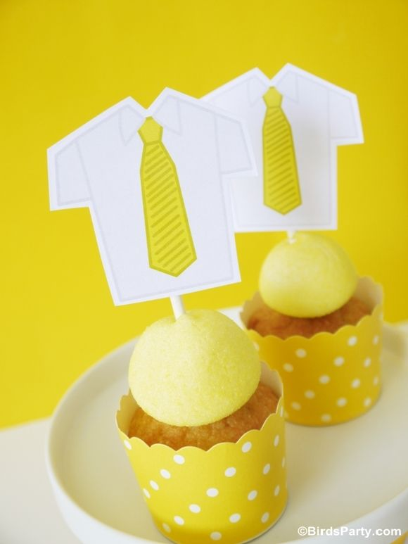 Father's Day: FREE Printable Shirt and Tie Cupcake Toppers - BirdsParty.com