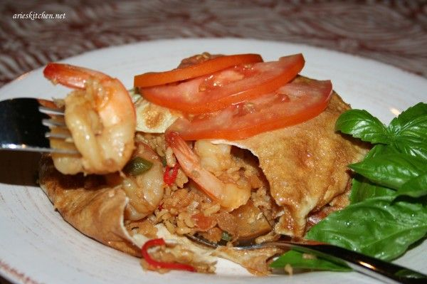 Prawn Fried Rice Wrap in Indonesian Omelette Recipe - Arie's Kitchen