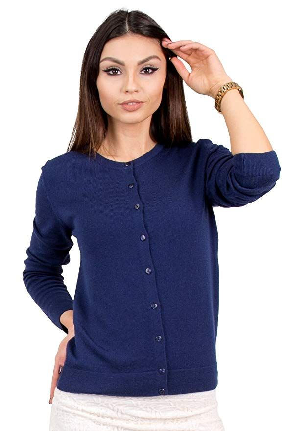 KNITTONS Women's Wool Cardigan Button Up Short Lightweight