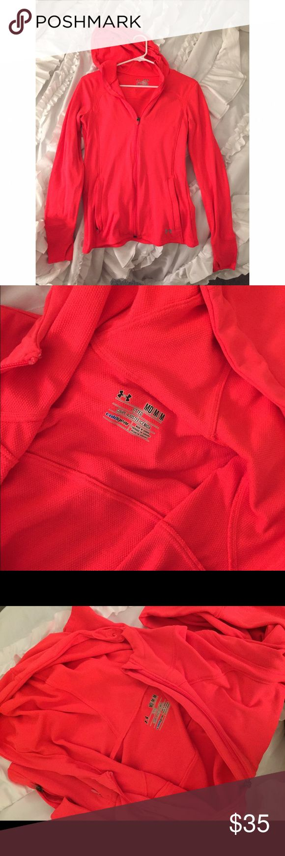 "under armour neon coral coldgear jacket under armour neon pink/ coral jacket, ""coldgear"", size medium! super soft and stretchy, ""fitted"" fit, with a hood, large pockets and thumb holes. great condition, I just have way too much workout gear 🏃🏻‍♀️ perfect for running or layering in chilly weather! Under Armour Jackets & Coats"