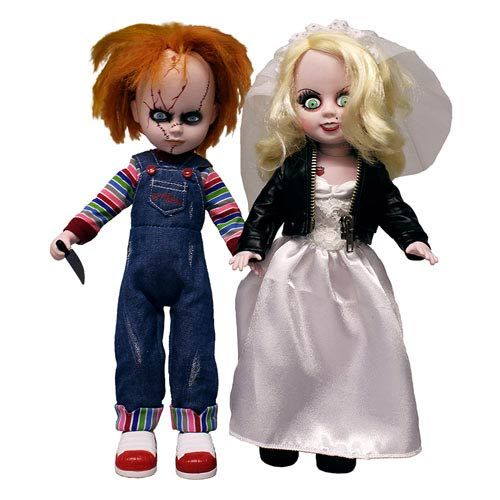 Living Dead Dolls Childs Play 4 Bride of Chucky Chucky and Tiffany Doll  - This edition added to the Living Dead Dolls line is Chucky and Tiffany as seen in the movie Child's Play 4: Bride of Chucky. Not since Bonnie and Clyde has a couple left such a path of destruction in their wake.   Chucky, the homicidal doll who contains the spirit of Charles Lee Ray, a serial...