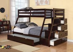 Practical beauty describes this ultra functional, durable and good looking twin over full size bunk bed in a rich espresso finish. This set features a pull out sleep trundle unit, a staircase to top t