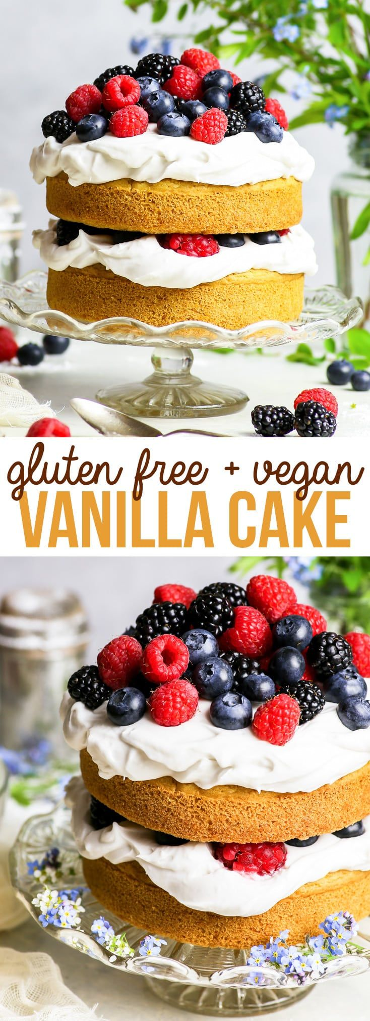 Gluten Free Vegan Vanilla Cake with Summer Berries {gluten, dairy, egg, nut & soy free, vegan} – This gluten free vegan vanilla cake recipe is THE recipe to have on hand if you have any kind of food allergy, or if you follow a vegan lifestyle. With a fluffy, moist sponge cake (no egg substitutes!) and a delicious coconut cream frosting, this recipe is both quick and easy! Gluten free dessert. Dairy free dessert. Vegan dessert. #vegan #glutenfree #dairyfree #dessert #vanilla #cake #food #recipeadrianna rodriguez