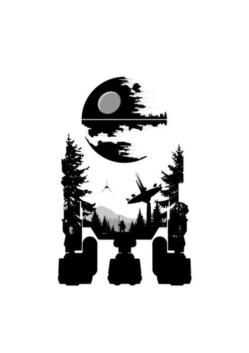 R2D2 - by Simon Page. It's the Death Star above the Forest Moon of Endor....all in the shape of R2D2!