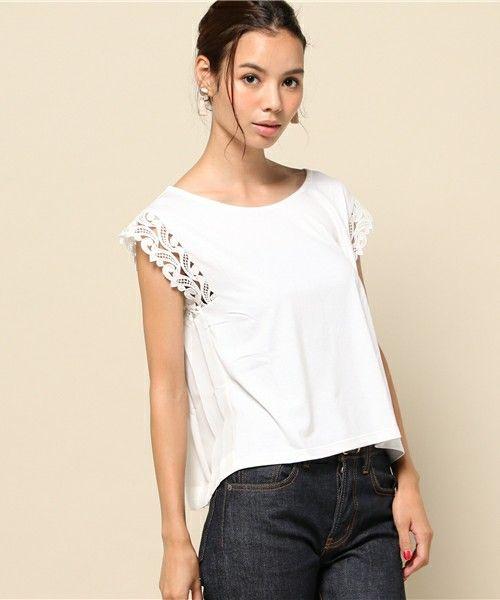 FREE'S MART(フリーズマート)のレース切替カットソー(Tシャツ/カットソー)|ホワイト