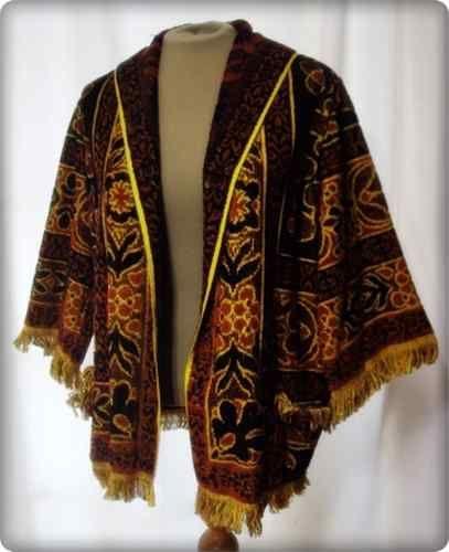 Vintage 60s MOD Beach Robe Coverup Terry Cloth Towel Jacket Flower Power