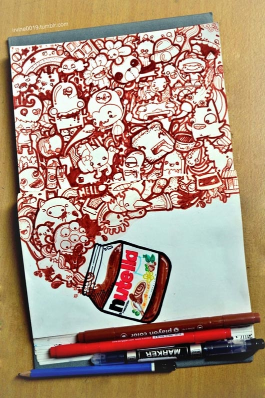 Who doesn't love Nutella?! I wouldn't eat it all in one go, but it's awesome on toast! Cool doodle!!