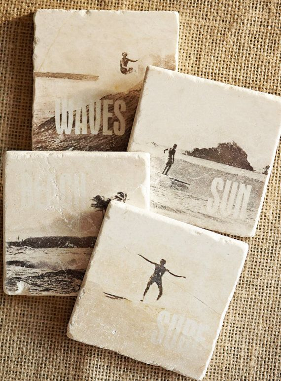 Surfer Coasters, Trivet, etc  Natural Tumbled Botticino Itallian Marble Tiles are individually hand crafted with a unique process creating a beautiful, functional piece of art. The natural qualities of the marble tile are apparent and inherited in the image transfer, adding interest, depth and variety to these tiles. Veining, chipping and some distress is normal and adds to the character of each piece. No two will ever be exactly alike. These have an old world feel to them and look like they…