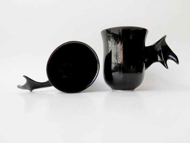 Scary gifts at DaWanda Mugs – Black mug bat – a unique product by Barbara-Sniegula on DaWanda