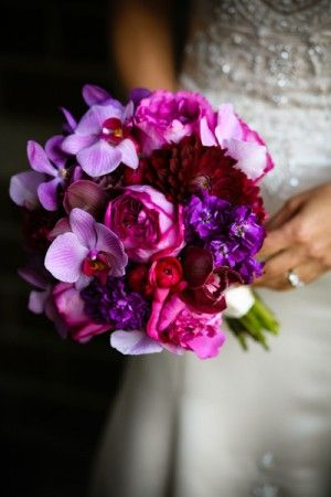 Purple bouquet. Love the colours, they really pop against a white ivory or cream wedding dress!