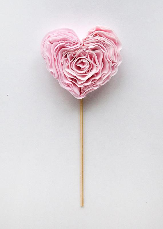 DIY Ruffled Hearts - I like this idea, might make with tissue paper instead of fondant for wedding decorations