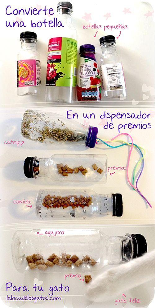 Instrucciones completas y paso a paso para fabricar tu propio juguete dispensador de premios para gato con una botella en Lalocadelosgatos.com