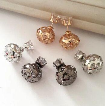 E337 Fashion Earrings 2015 Double Side Shining Pearl earrings for women 3 Colors Brincos Crystal Stud Earrings