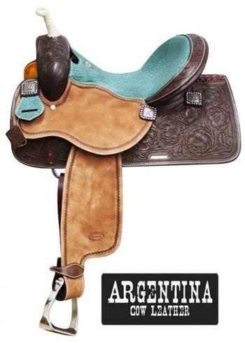 Showman Argentina Cow Leather Barrel Saddle | ChickSaddlery.com