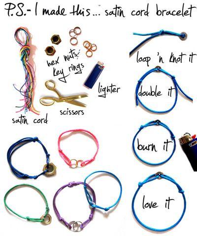 simple bracelet diyCords Bracelets, Ideas, Crafty, Diybracelets, Diy Bracelets, Jewelry, Satin Cords, Friendship Bracelets, Crafts