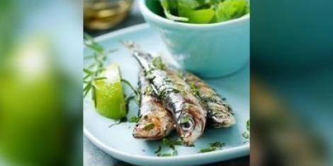 Gegrilde sardines met tomatensorbet