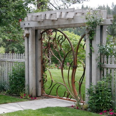 Elegant Entry Gate And Wood Arbor Garden Gates