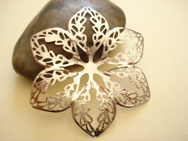 4 Large Filigree 6 Leaf Flower Antiqued Silver Base 65mm B-861 by yooounique on Etsy