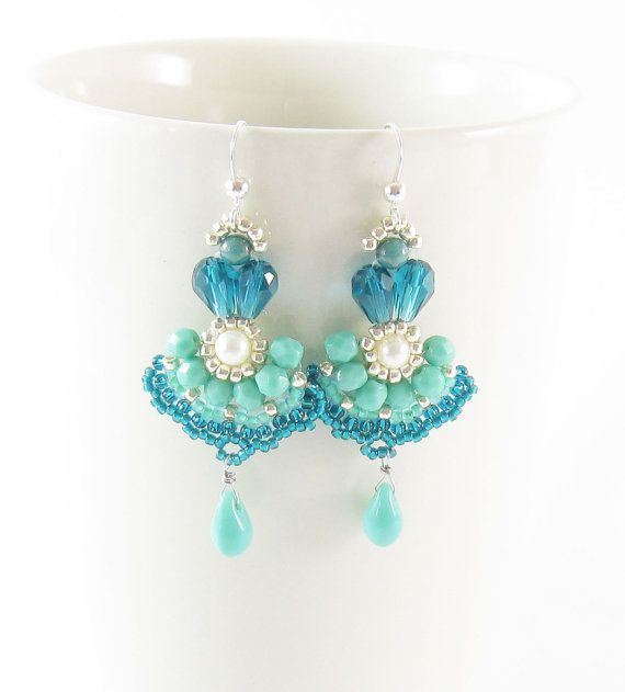 Long earrings, beadwork, aqua turqouise blue,handmade, with teardrop and freshwater pearl.