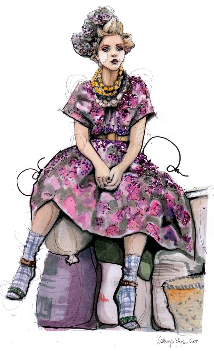 Fashion illustrations on Katie Rodgers' Paper Fashion blog.
