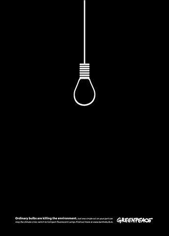 Campaña gráfica de Greenpeace para concienciar sobre el malgasto energético.
