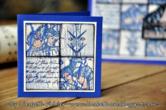 PaperArtsy: 2016 #13 Delft Tiles {by Liesbeth Fidder}