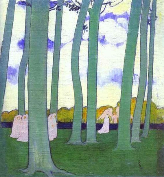 'landschaft mit grün bäume oder buche bäume in `kerduel`', öl auf leinwand von Denis Maurice (1870-1943, France)