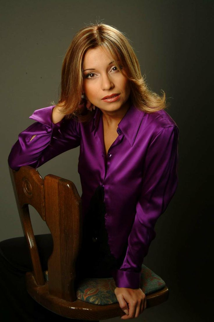 purple silk satin blouse
