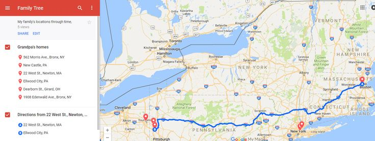 Showing the travel route between my grandfather's locations on Google My Maps