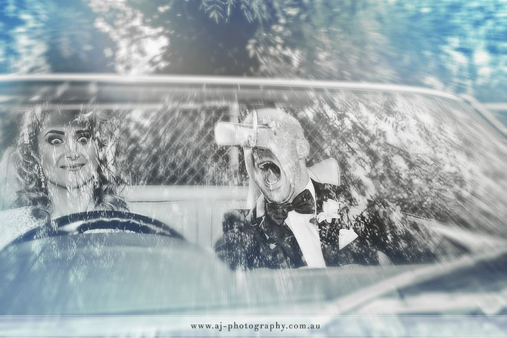 Fire Truck!  I don't think the groom likes being driven around by a woman. www.weddingphotographerdaylesford.com.au