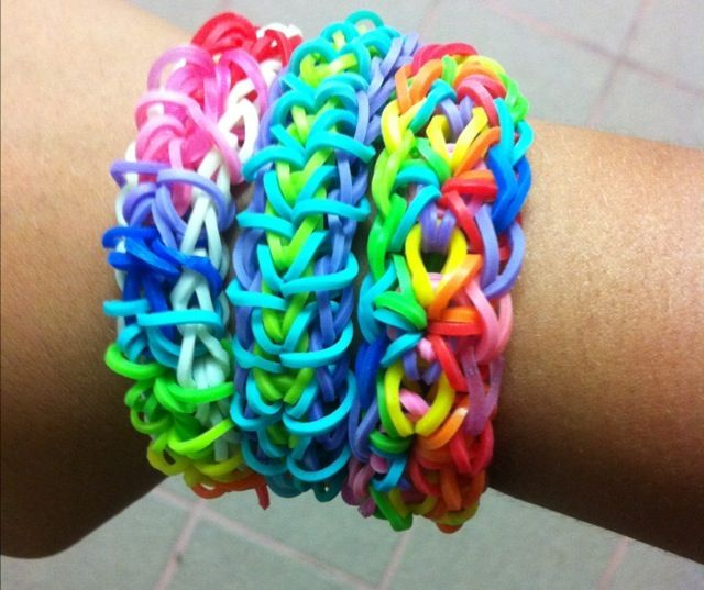 Some bracelets I've made with rainbow loom