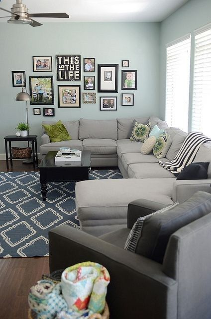 Blues and greys in family room