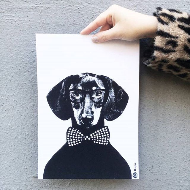 The Hugo print is now 50% off in our closing sale  Discount applied automatically at checkout . . . . #beanhomebody #studiolisabengtsson #tilsammans #giftideas #monchrome #scandinavian #dachshund #sausagedog