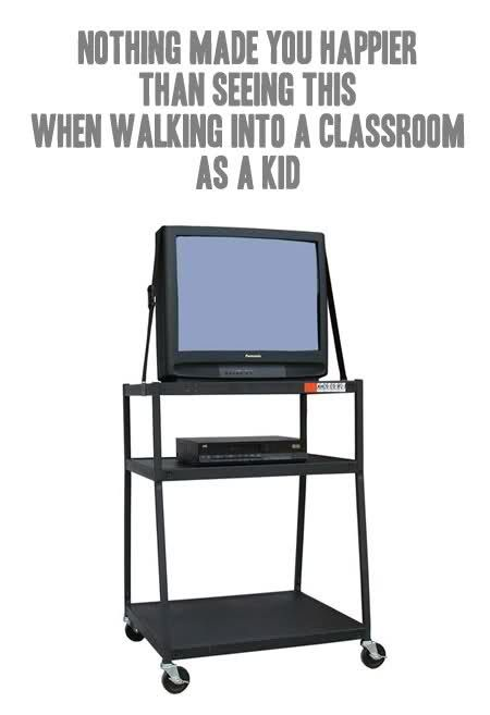 You could always put your head down on the desk and snooze because the teacher would turn the lights off.