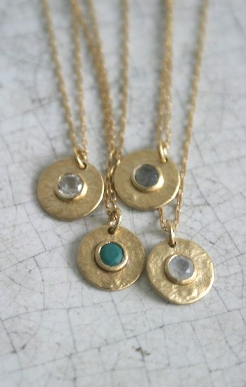 Tiny gold disc necklace with stone in center - Little Precious Collection Necklaces