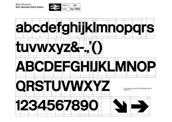 Jock Kinneir and Margaret Calvert's Rail Alphabet for British Railways.