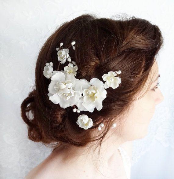 white flower for hair, bridal hair accessories, rustic wedding, cherry blossom hair clip - STARDUST - white wedding flower headpiece on Etsy, $75.00