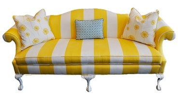 yellow striped couch