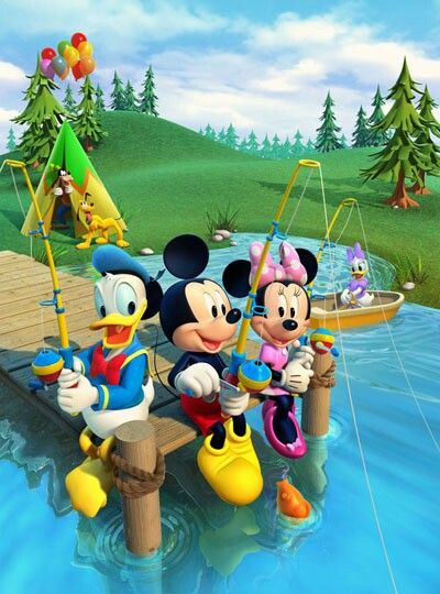 Mickey Mouse camping with his friends