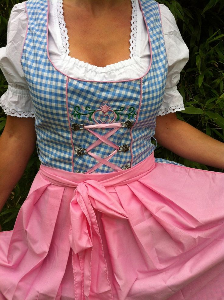 MINI-Dirndl-HELLBLAU-WEISS-KARIERT-Bluse-Schuerze-32-46-ROSA-Trachtenkleid