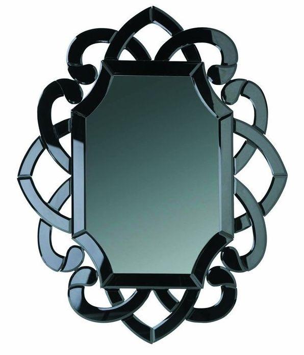 Lustro Koko w ozdobnej ramie z barwionego, czarnego szkła. MEBLE VOX, cena 399 zł