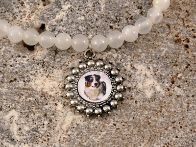 Here is my beautiful and unique gemstone charm bracelet. I CAN PERSONALIZE WITH YOUR DOG: It is available in 6 different gemstones/colors.  This bracelet is gorgeous, the photos do not do it justice!  As with all my items, I can make this using a photo of your dog at no extra charge:)  I will create a lovely digital portrait from your photo.  These are only $17.99 including shipping to anywhere. I also have these as multi-charm for those of you with several dogs.   www.simplyitalydesigns.com