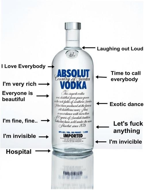 Wrong type of Vodka for my taste.. but how true!!