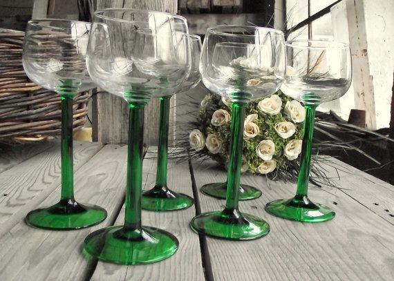 Green Stem Glasses  Long Stemmed Wine Glasses by MyFrenchBricABrac