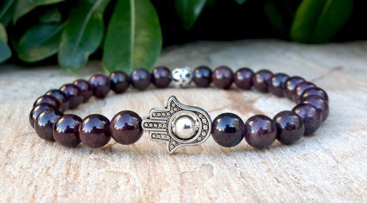 6mm Garnet Men Hamsa Hand Bracelet with Focal Sterling Silver Spacer Protection Meditation Spiritual Healing Luck Money Love FREE SHIPPING by Braceletshomme on Etsy