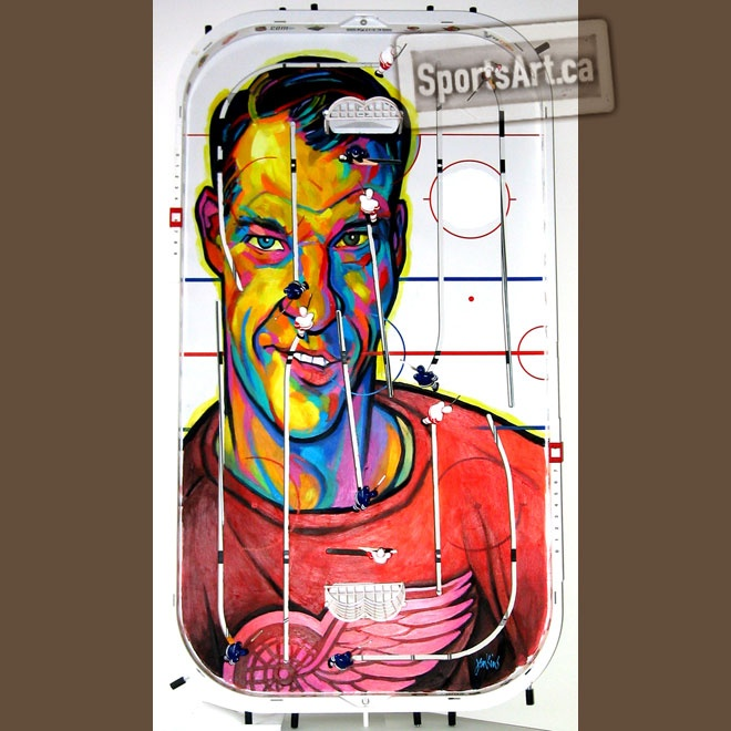 """""""I lament the idols of my youth being overshadowed by a generation of flawed and merchandised millionaire athletes."""" - artist Anthony Jenkins. Using table hockey games as his canvas, Jenkins brilliantly painted Gordie Howe in """"Mr. Hockey""""."""