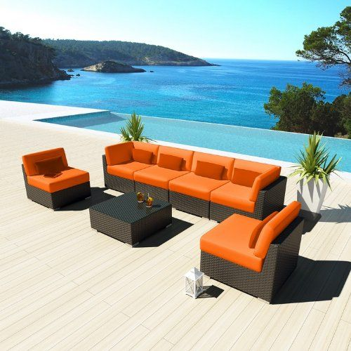 Uduka Outdoor Sectional Patio Furniture Espresso Brown Wicker Sofa Set Daly  7 Orange All Weather Couch