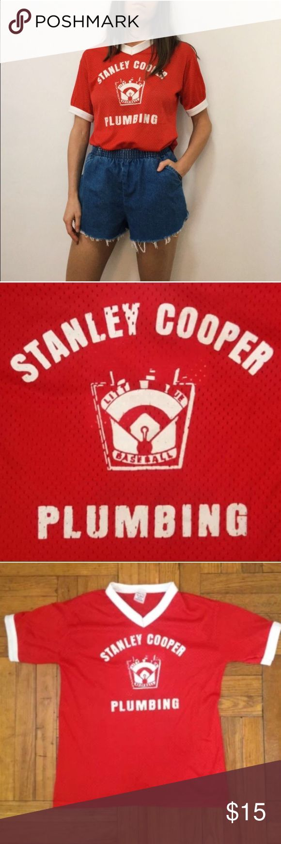 """Vintage Little League Baseball Jersey Stanley M Vintage Little League Baseball Jersey Stanley Cooper Plumbing #4 <<<<<<<<<<<<<<<<<<<<<<<<<<<<<<<<<<<<<<<<<  Red White  size youth medium 24 1/2"""" long 18 1/2"""" across chest laying flat dress form in photos is women's size 2-4  no holes or stains Vintage Tops Tees - Short Sleeve"""