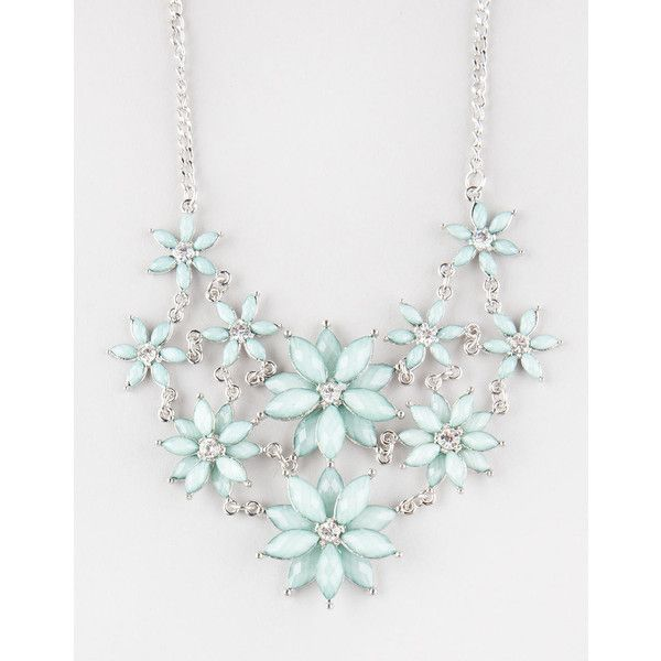 Full Tilt 2 Row Facet Flower Statement Necklace ($9.99) ❤ liked on Polyvore featuring jewelry, necklaces, mint, bib statement necklace, full tilt, mint necklaces, blossom necklace and mint statement necklace
